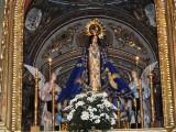 Detaljbild av altartavlan i Iglesias de la Purisima i Mazarrón.