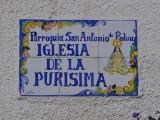 Namnskylt till kyrkan i Mazarrón